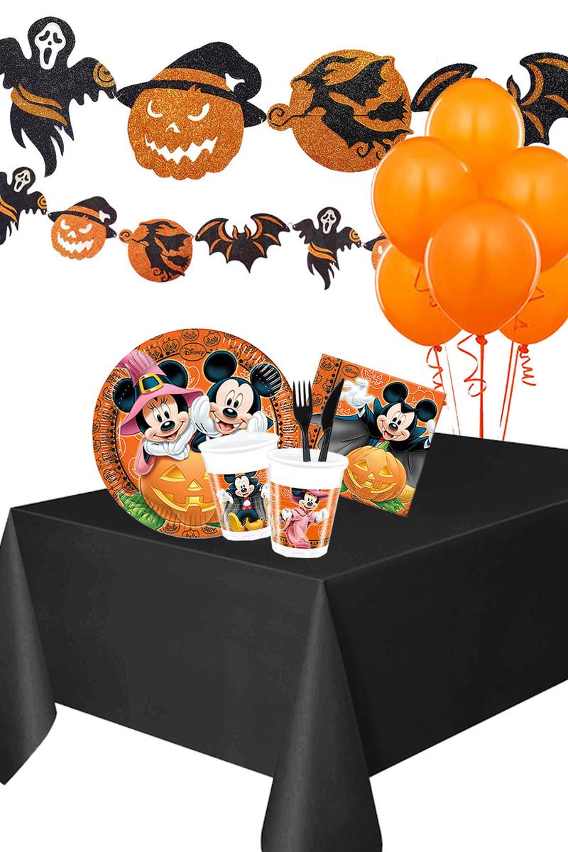 Cadılar Bayramı Mickey Halloween Simli Afişli Sofra Seti 8 Kişilik 98 Parça