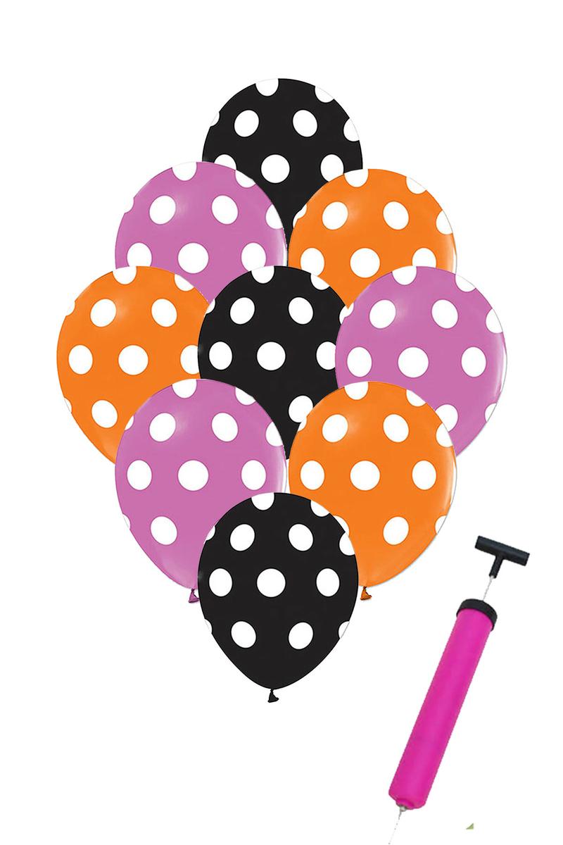 Cadılar Bayramı Renkleri Puantiyeli Balon ve Balon Pompası Seti 31 Parça