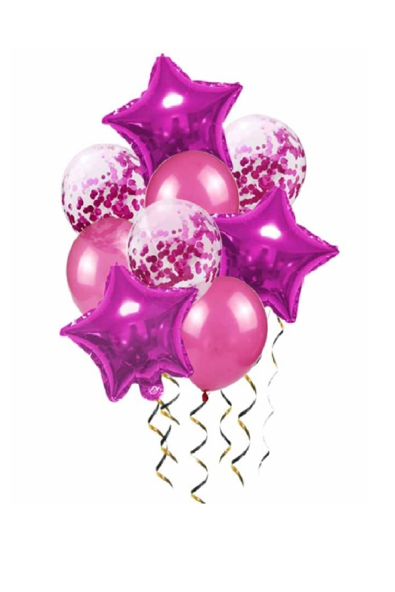 Fuşya Yıldızlar Konfetili Balon Demeti 24 Parça