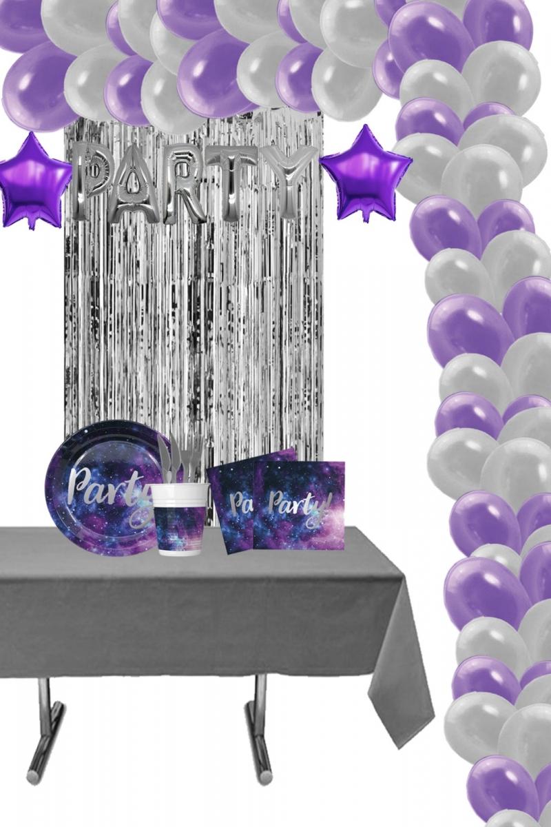 Galaksi Partisi Balon Zincirli Doğum Günü Parti Seti 8 Kişilik 156 Parça
