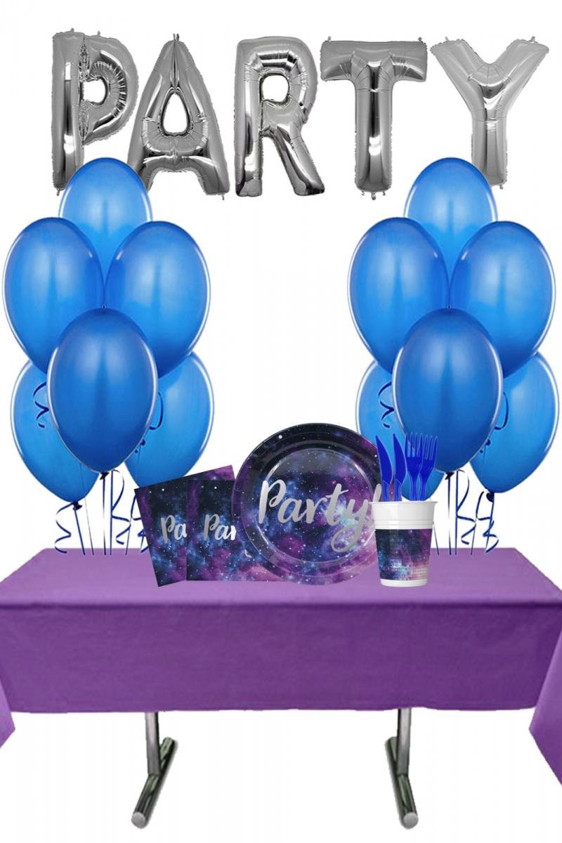 Galaksi Partisi PARTY Yazılı Doğum Günü Parti Seti 8 Kişilik 102 Parça