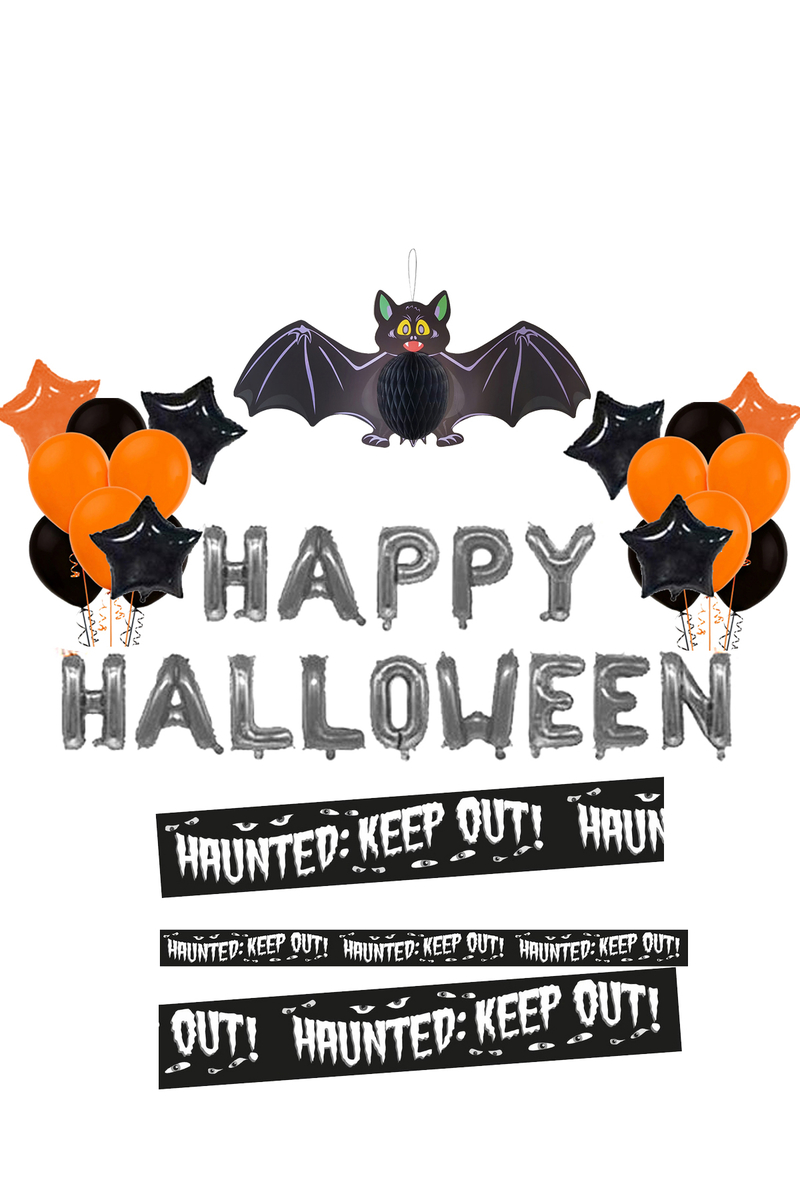 Happy Halloween Şeritli Yarasa Balonlu Dekorasyon Set 40 Parça