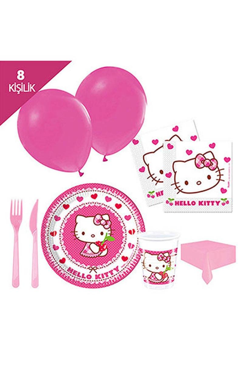Hello Kitty Kalpler Parti Seti 8 Kişilik 97 Parça