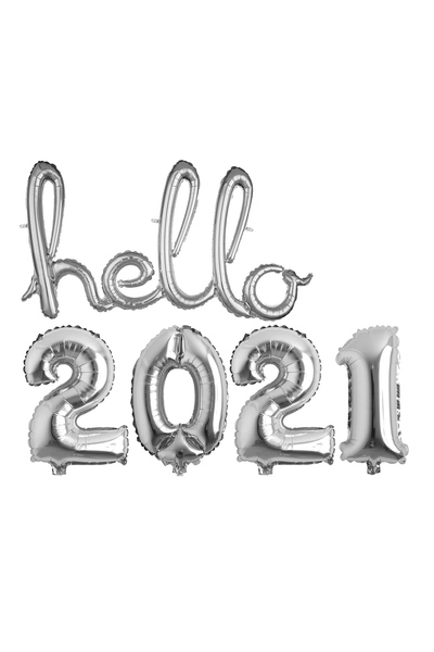 Hello Yılbaşı 2021 Gümüş Folyo Balon Seti 90cm