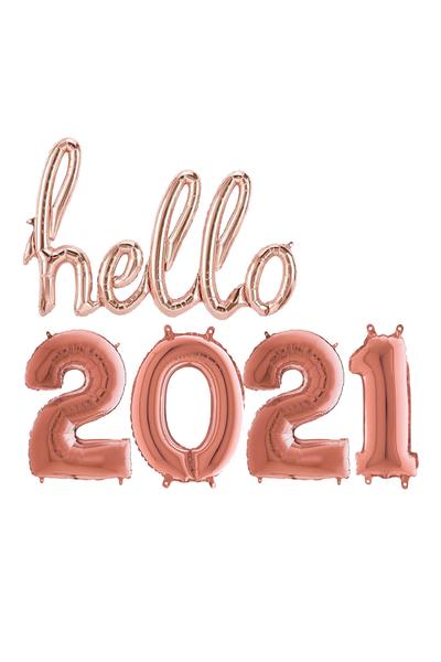 Hello Yılbaşı 2021 Rose Gold Folyo Balon Seti 90cm