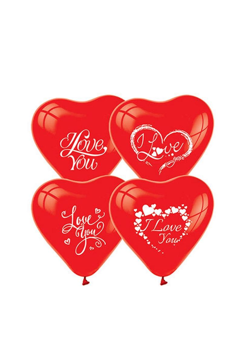 I Love You Baskılı Kırmızı Kalp Balon 30cm (12 inch) 30lu