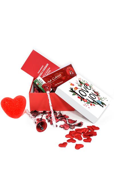 I Love You Çiçek Desenli Hediye Kutu ve Hediye Seti 28 Parça Model 7