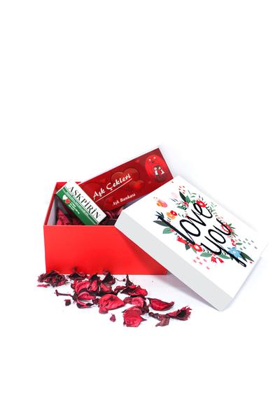 I Love You Çiçek Desenli Hediye Kutu ve Hediye Seti 4 Parça Model 1