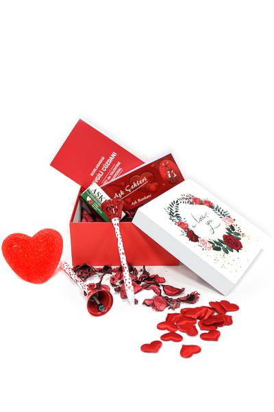 I Love You Gül Desenli Hediye Kutu ve Hediye Seti 28 Parça Model 7