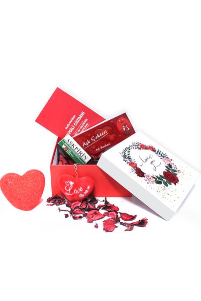 I Love You Gül Desenli Hediye Kutu ve Hediye Seti 7 Parça Model 4