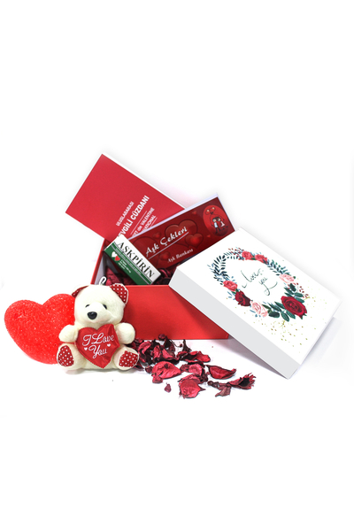 I Love You Gül Desenli Hediye Kutu ve Hediye Seti 7 Parça Model 5