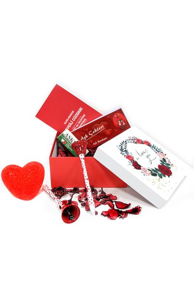 I Love You Gül Desenli Hediye Kutu ve Hediye Seti 8 Parça Model 9