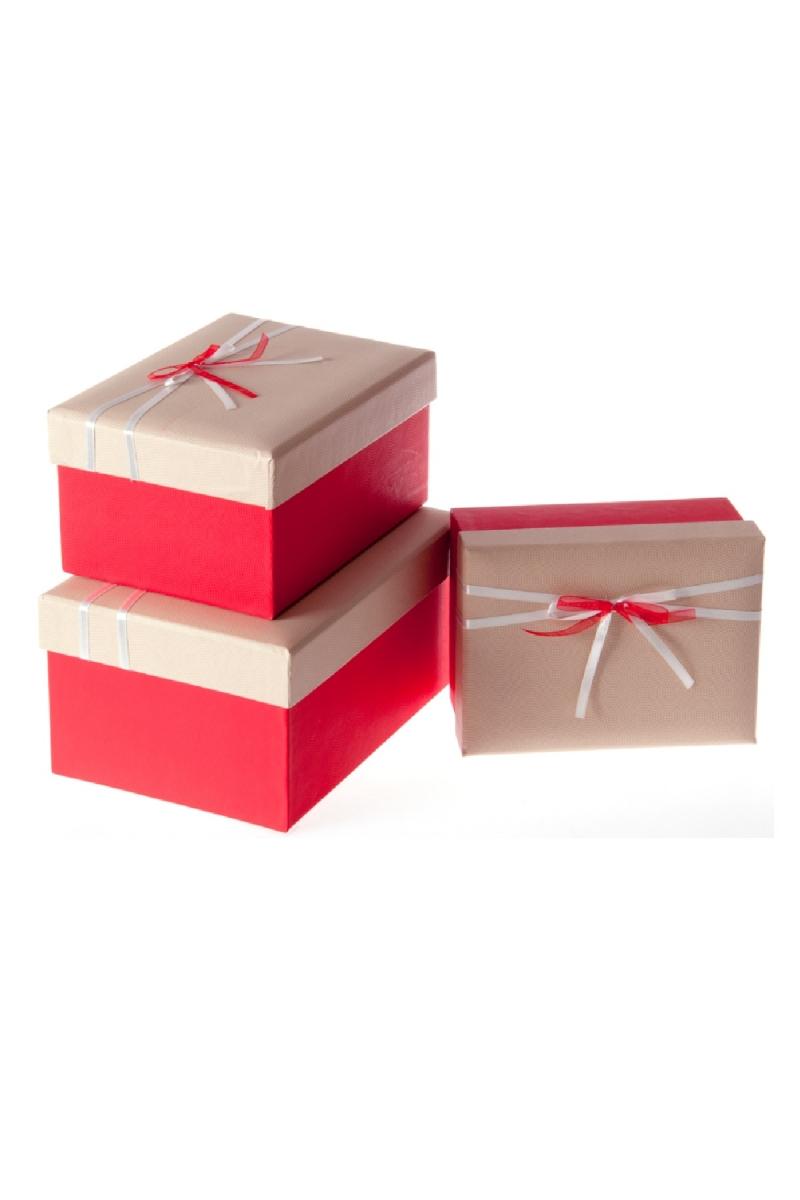 Kırmızı Beyaz Kurdeleli Kırmızı Hediye Kutusu Set 3lü