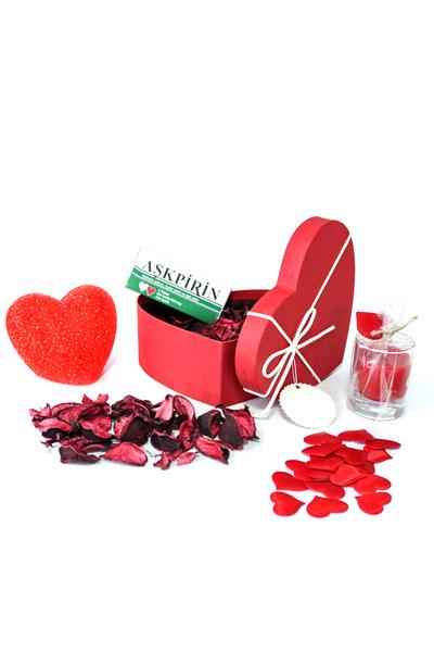 Krem Kurdeleli Küçük Boy Kalp Kutu ve Hediye Seti 25 Parça Model 7