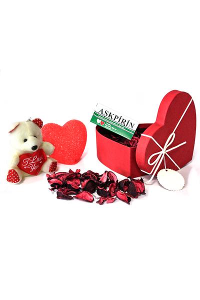 Krem Kurdeleli Küçük Boy Kalp Kutu ve Hediye Seti 5 Parça Model 4