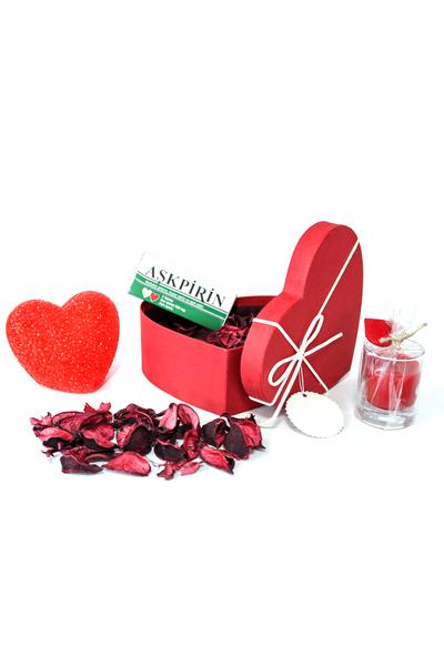 Krem Kurdeleli Küçük Boy Kalp Kutu ve Hediye Seti 5 Parça Model 6