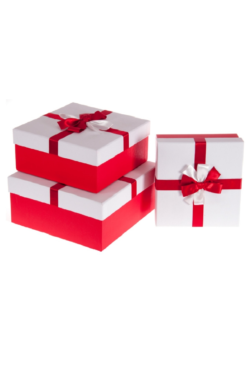 Kurdeleli Kırmızı Kapaklı Beyaz Hediye Kutusu Set 3lü