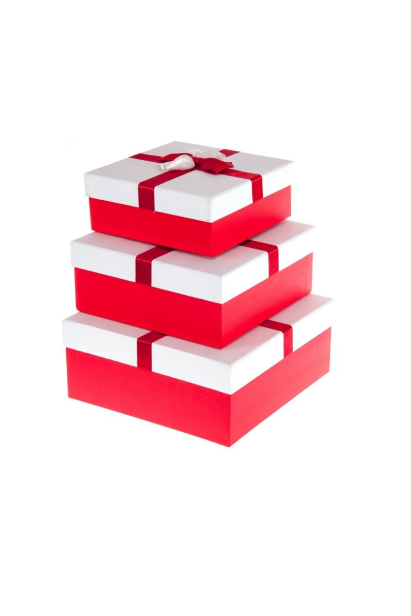 Kurdeleli Kırmızı Kapaklı Beyaz Hediye Kutusu Set 3lü - Thumbnail