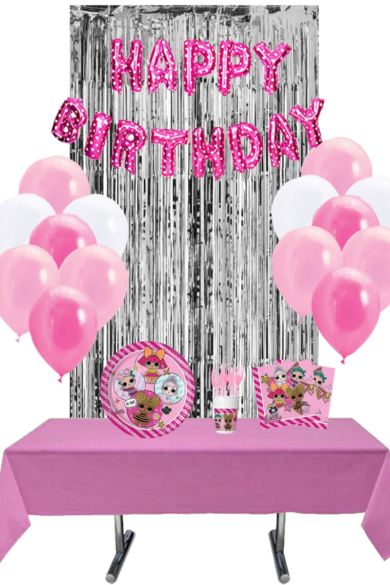 LOL Bebek Arka Fonlu Doğum Günü Parti Seti 8 Kişilik 131 Parça