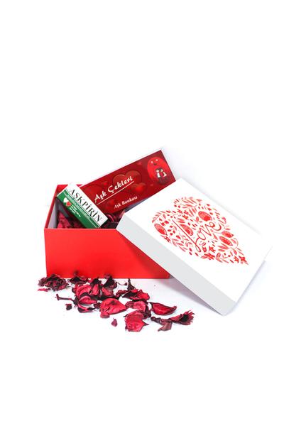 Love Desenli Hediye Kutu ve Hediye Seti 4 Parça Model 1