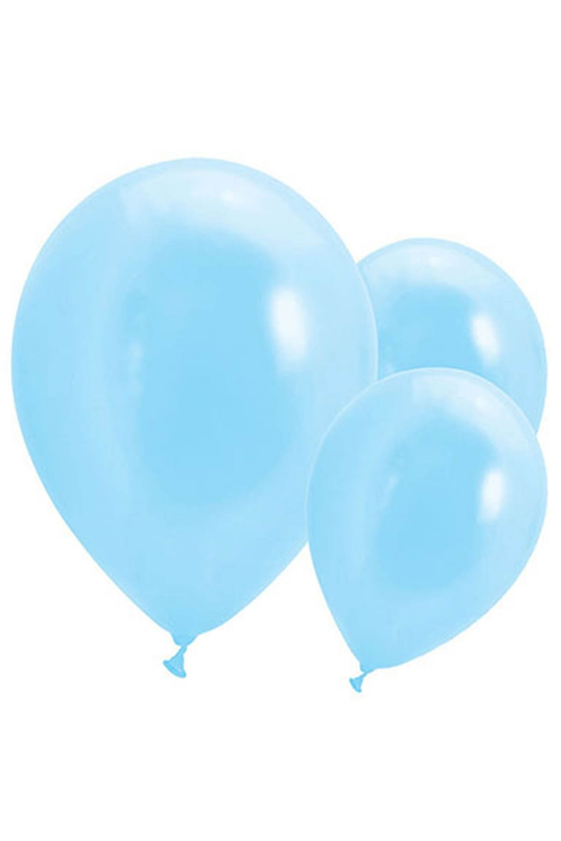 Metalik Açık Mavi Balon 30cm (12 inch) 50li