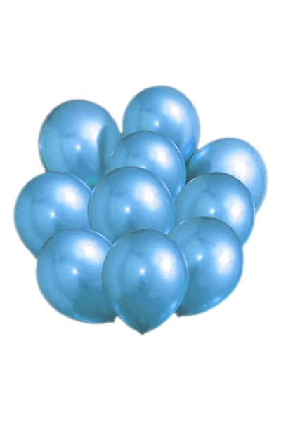 Metalik Krom Balon Mavi 40cm (16 inch) 10lu