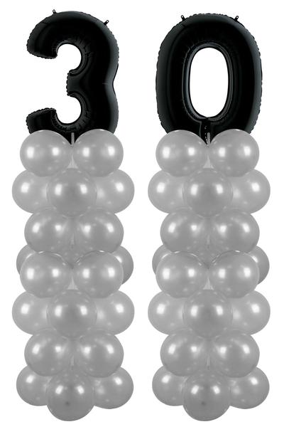 Metalik Siyah 30 Rakam Balon Standı Seti