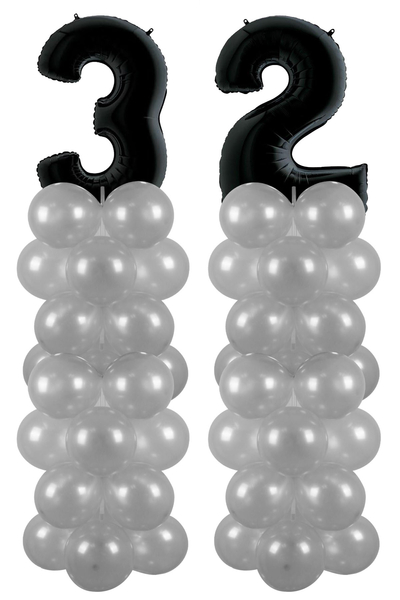 Metalik Siyah 32 Rakam Balon Standı Seti