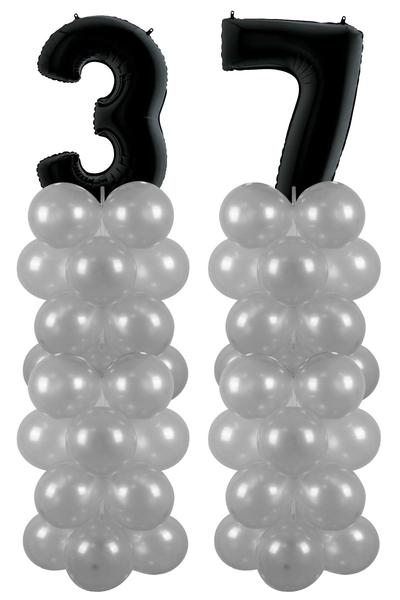 Metalik Siyah 37 Rakam Balon Standı Seti