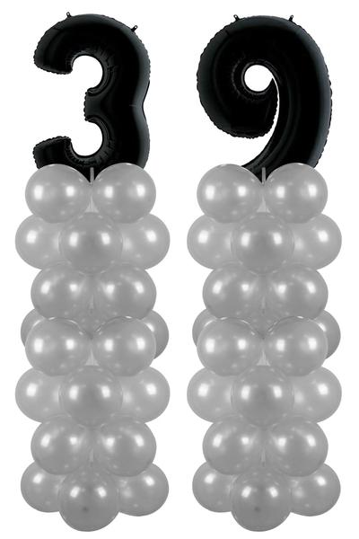 Metalik Siyah 39 Rakam Balon Standı Seti