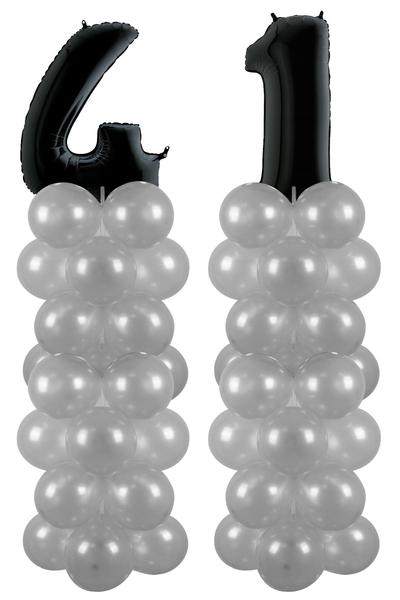 Metalik Siyah 41 Rakam Balon Standı Seti