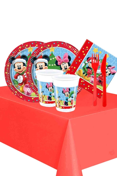 Mickey Yılbaşı Partisi Sofra Seti 16 Kişilik 103 Parça Model 2