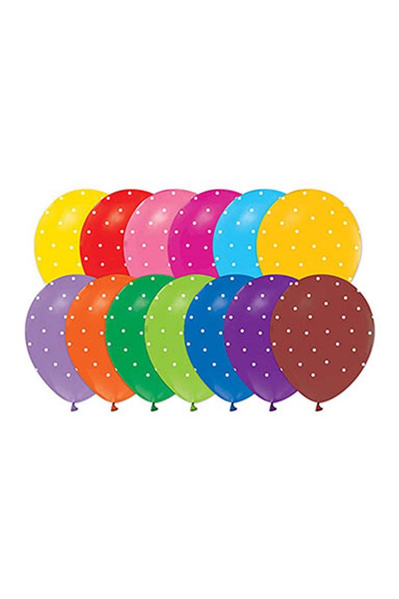 Mini Beyaz Puantiyeli Renkli Balon 30cm (12 inch) 50li