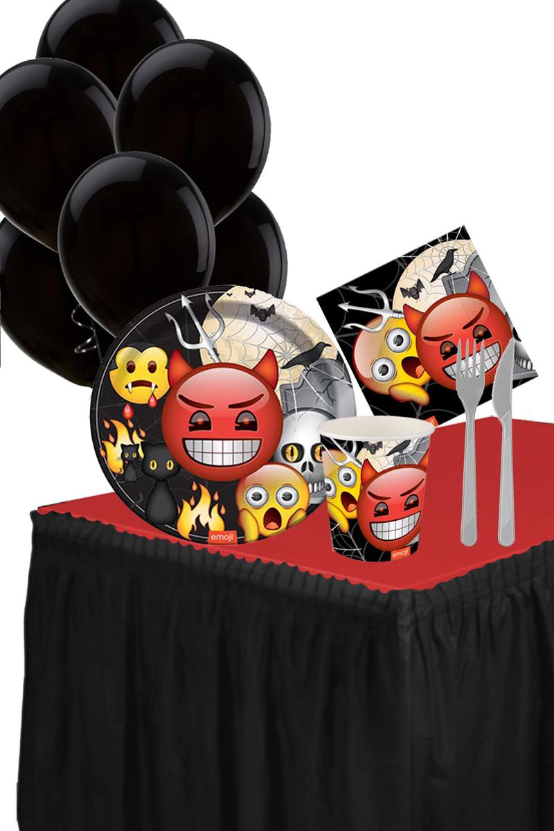 Roll-Up Emoji Korku Masa Etekli Parti Seti 8 Kişilik 98 Parça Model1
