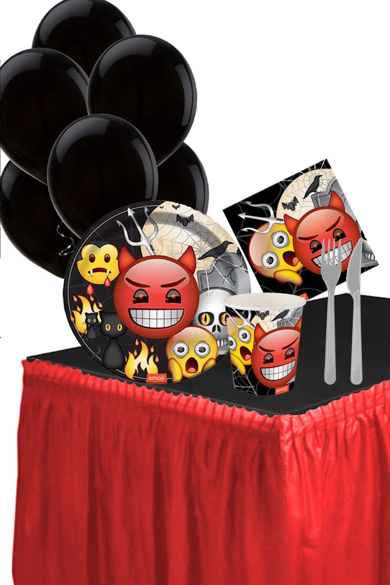 Roll-Up Emoji Korku Masa Etekli Parti Seti 8 Kişilik 98 Parça Model4