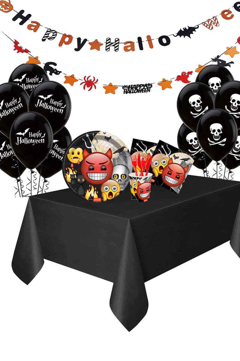 Roll-Up Emoji Korku Partisi Balonlu Harf Afişli Sofra Seti 8 Kişilik 108 Parça