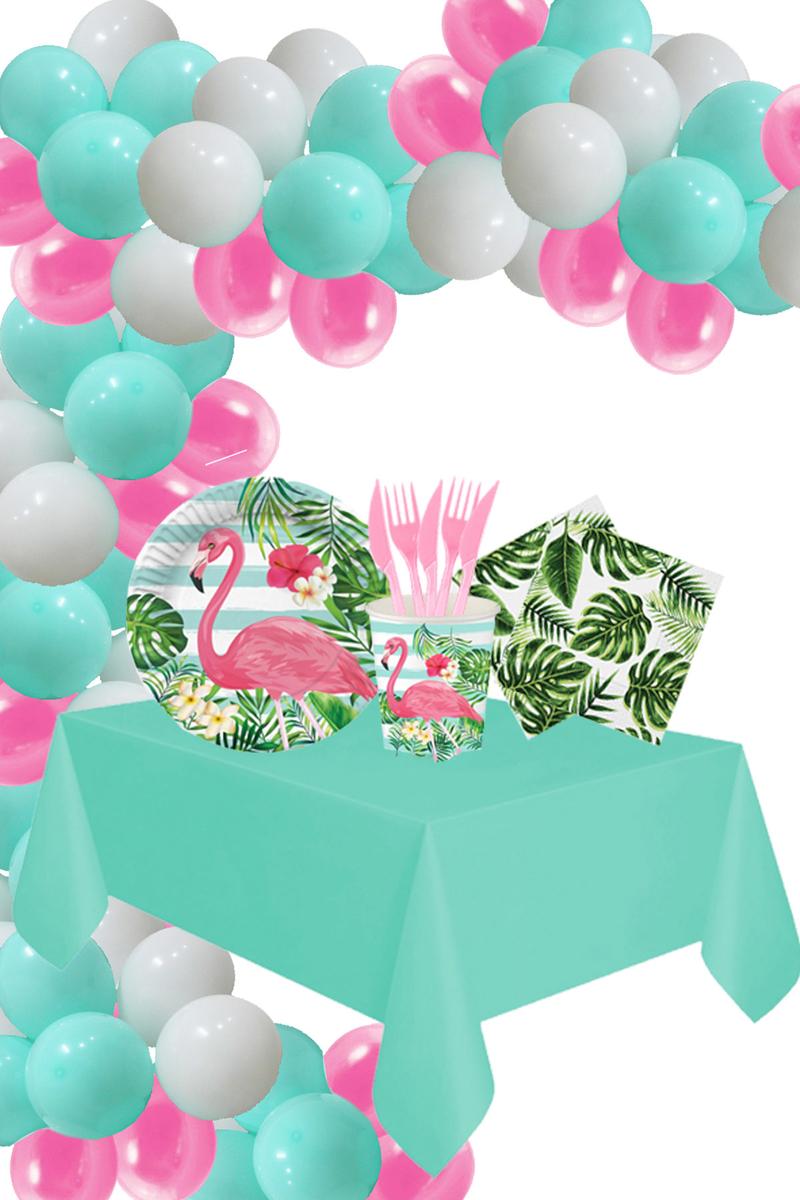 Roll-Up Flamingo Doğum Günü Parti Seti 16 Kişilik 154 Parça