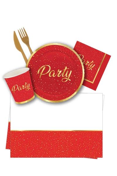 Roll-Up Kırmızı Party Sofra Seti 8 Kişilik 87 Kişilik