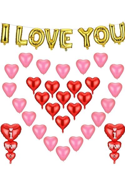 Sevgililer Günü Balon Dekor Seti 40 Parça Model 34