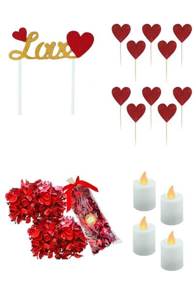 Sevgililer Günü Pasta ve Sofra Süsleme Sürpriz Seti 16 Parça Model 2