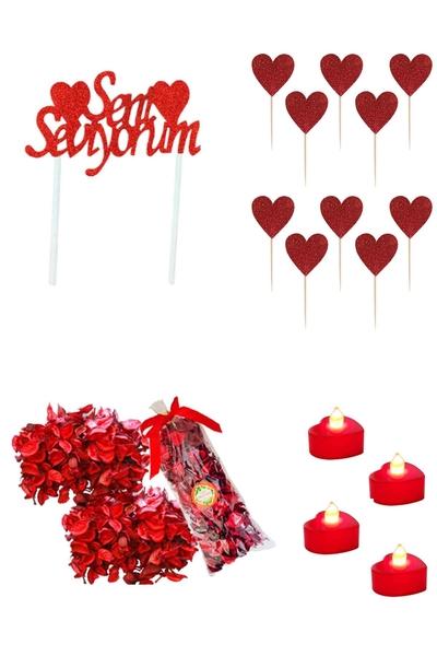 Sevgililer Günü Pasta ve Sofra Süsleme Sürpriz Seti 16 Parça Model 9