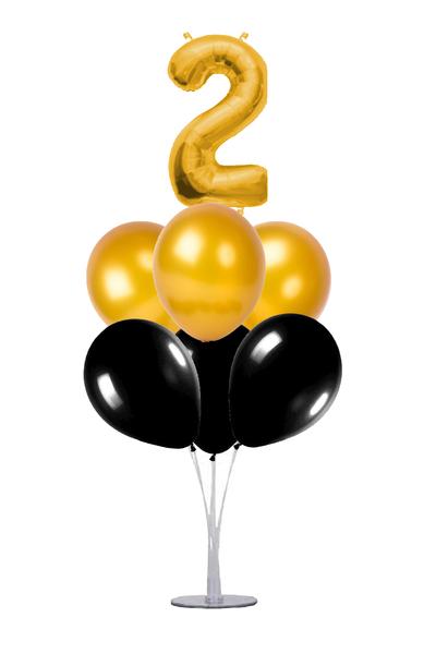 Siyah-Altın 2 Rakam Balon Standı Seti 22 Parça