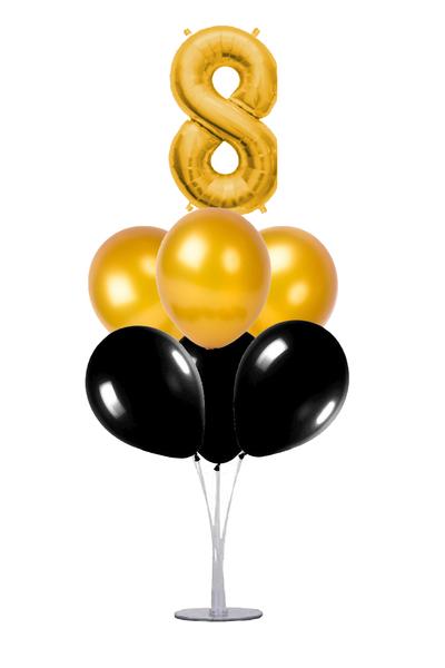 Siyah-Altın 8 Rakam Balon Standı Seti 22 Parça