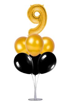 Siyah-Altın 9 Rakam Balon Standı Seti 22 Parça - Thumbnail
