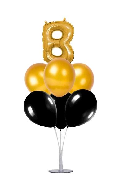 Siyah-Altın B Harf Balon Standı Seti 22 Parça
