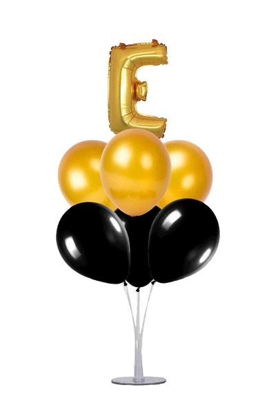Siyah-Altın E Harf Balon Standı Seti 22 Parça