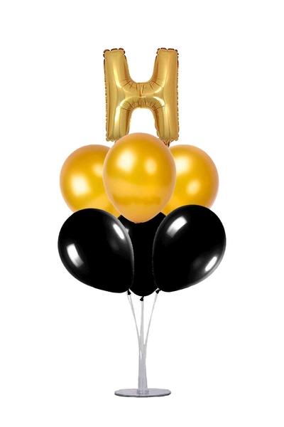 Siyah-Altın H Harf Balon Standı Seti 22 Parça