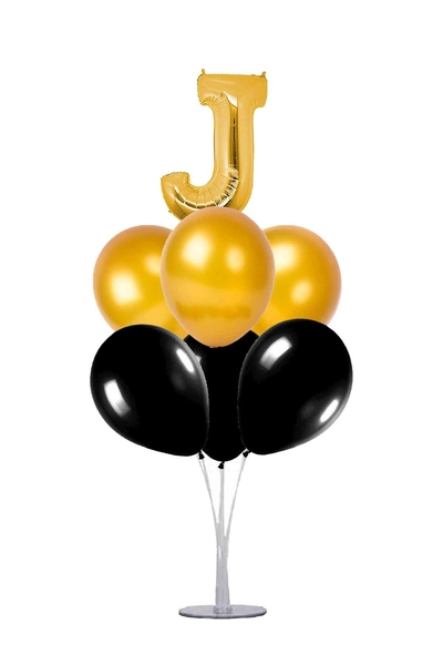 Siyah-Altın J Harf Balon Standı Seti 22 Parça