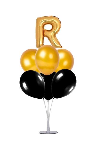 Siyah-Altın R Harf Balon Standı Seti 22 Parça