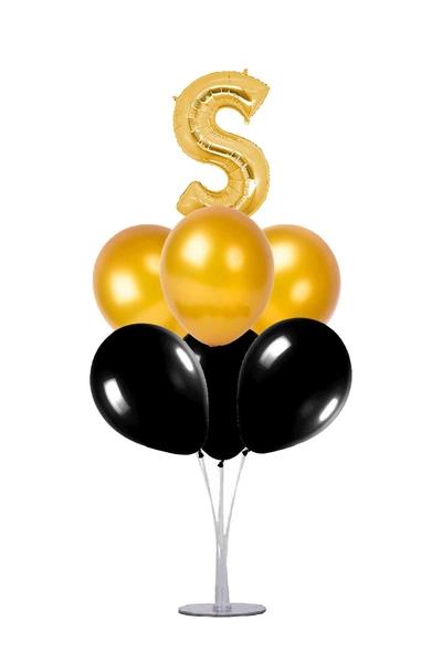 Siyah-Altın S Harf Balon Standı Seti 22 Parça